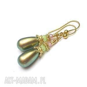 green pearl - kolczyki, srebro pozłacane, pereły, swarovski, cyrkonie, krople