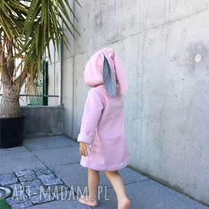 Płaszczyk/bluza różowa A kuku, płaszczyk, bawełna, bluza, królik, uszy