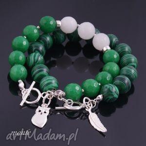 Zielona sowa, bransoletka - ,bransoletka,srebro,biżuteria,sowa,jadeit,