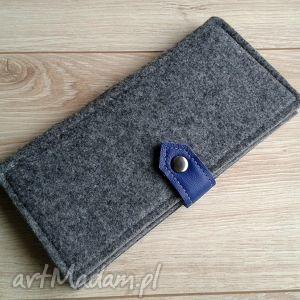 wallet gray blue leather, portfel, filc, skóra, naturalna