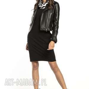 sukienki sukienka sportowa z kominem wzorzystymi dodatkami, t295, czarna /