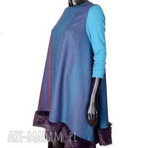 wełniana sukienka w krate z futerkiem r s, futerko, krata, welna, ciepla