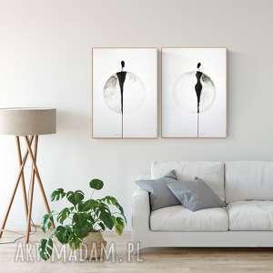 zestaw 2 grafik 50x70 cm, plakat, abstrakcja, elegancki minimalizm, obraz do salonu