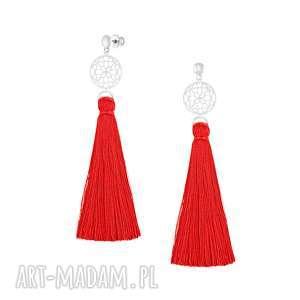 długie kolczyki z czerwonym chwostem - boho, chwost, srebro, prezent, sztyfty