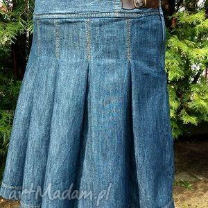 Jeansowa Spódnica Biodrówka, jeans, denim, recykling, fałdki,