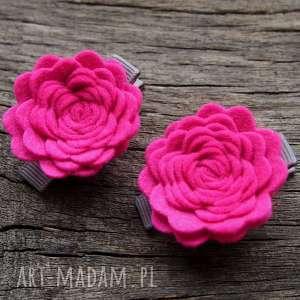 roses spinki do włosów hot pink, różyczki, spineczki, filcowe, spinki, filc