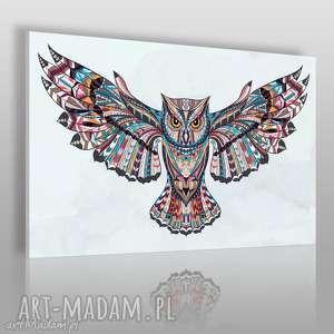obraz na płótnie - sowa boho 120x80 cm 61701, sowa, ptak, kolorowy, boho, indiański