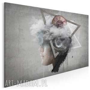 obraz na płótnie - abstrakcja twarz 120x80 cm 26101, zegar, twarz, beton