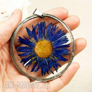 naszyjnik z niebieskim astrem w żywicy z12 - naszyjnik z kwiatem, astry, prezent