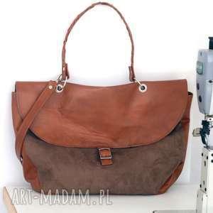 torebki torebka duża brązowa, torebka, duża, listonoszka, pojemna, alkantara, skóra