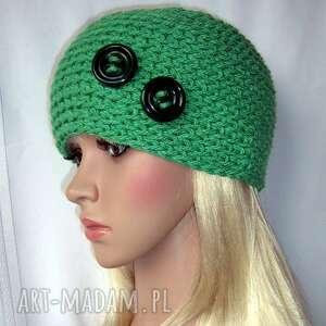 samantha zielona ozdobna czapka z guziczkami, czapka, guziki, ozdobna, ciepła
