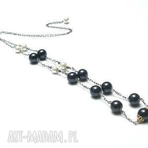 Wspomnienie po babci vol. 2 - naszyjnik, srebro, oksydowane, pozłacane, perły