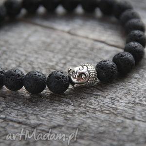 ręcznie wykonane męska męska bransoletka :: buddha & black lava ii