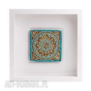 ceramiczny kafelek orientalny w ramce, dekor, kafel, malowany, ceramika, obrazek