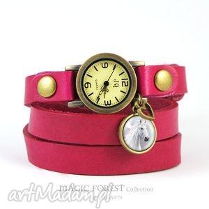 bransoletka, zegarek - biały koń ciemny róż, biskupi, amarant, skórzany