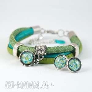 bransoletki komplet - bransoletka i kolczyki zielona, turkusowa rzemienie