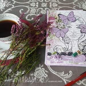 notes / wiosenna dziewczyna, motyle, wiosna, lawenda, róże