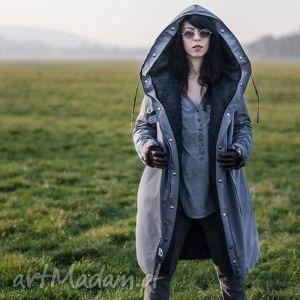 płaszcz zimowy szary z podpinką - zimowa, kaptur, podpinka, futerko, jedwab