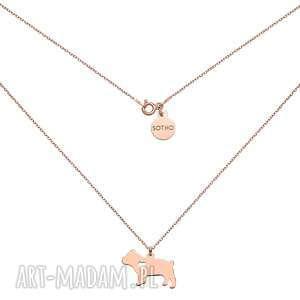 naszyjnik z różowego złota z psem rasy buldog angielski