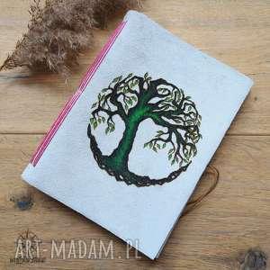 Planer w skórzanej oprawie Drzewo - ręcznie robiony i malowany bullet journal,