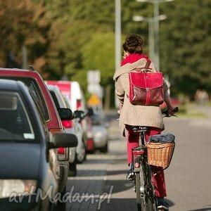 plecak / torba skóra czereśniowa, teczka, retro, oldschool, plecak, torba, czereśnia