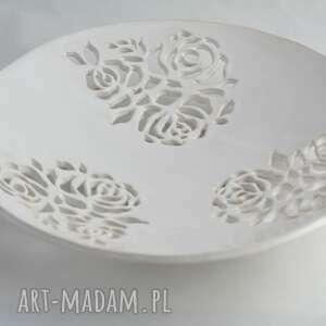 Patera ażurowa w róże ceramika reniflora artystyczna, patera
