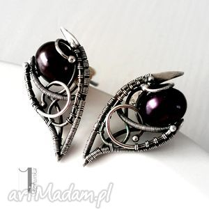 kolczyki fern i srebrne z perłami, srebro, 925, wirewrapping, perły, prezent