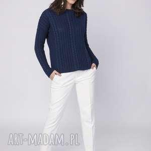 prosty sweter, swe138 granat mkm, dekolt, łódka, warkocz, dzianinowy, praca, jesień