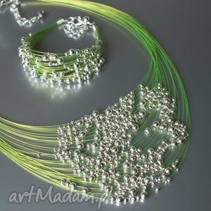 komplet zielony kuleczki, naszyjnik, bransoletka, komplet, posrebrzane
