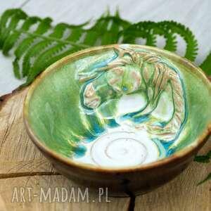 Miseczka śniadaniowa z koniem zielono-brązowa rękodzieło