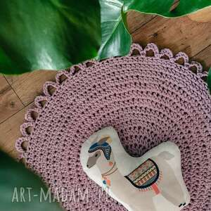 okrągły dywanik ze sznurka, sznurkowy, makrama