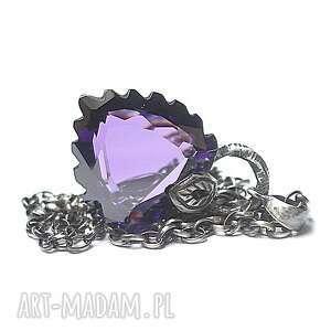 violet heart -naszyjnik - srebro, oksydowane, cyrkonia