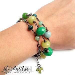 hand made bransoletka lub długi naszyjnik, jadeit, peridot, zielona bransoletka