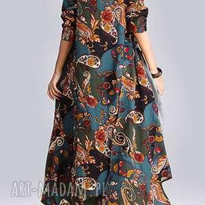 sukienki sukienka lniana z domieszką w kwiaty absolutnie obłędna, sukienka, wzory
