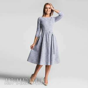 sukienki sukienka marie 3/4 midi nikola szary błękit (melanż)