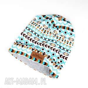 czapka beanie aztec geometryczna ciepła - czapka, beanie, ciepła, kolorowa, aztec