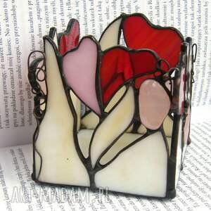świeczniki świecznik witrażowy z sercami i kwarcem różowym