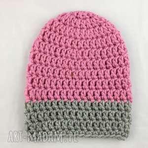ręcznie robiona czapka różowo szara hand made, czapka, czapki, rękodzieło, szydełko