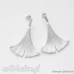 hand made kolczyki kolczyki srebrne - ginko ii białe