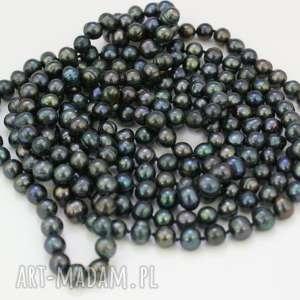 bardzo długi naszyjnik z pereł naturalnych - naszyjnik, korale, perły