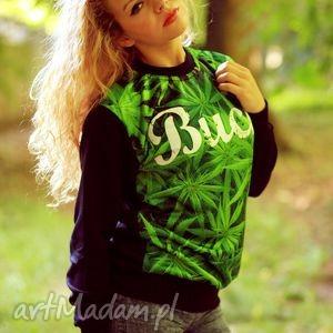 bluza z modnym motywem trawki marihuany napisem buch, motyw, aplikacja, marihuana