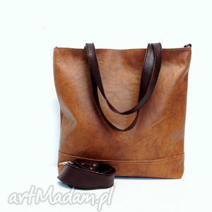 Shopper bag, torba, brązowa, modna, uszyta, wygodna, handmade