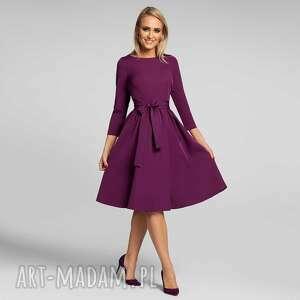 sukienki sukienka marie 3/4 midi burgund, midi, basic, rozkloszowana