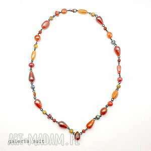 pomarańczowy naszyjnik - bransoletka, szkło, howlit, stal, metaloplastyka