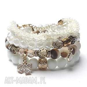 White and chocolate vol. 3 /02.01.17/ set - szkło, agaty, matowe, cyrkonie