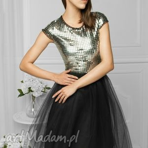 sukienka tiulowa srebrna fal, wesele, studniówka, wieczorowa, srebrnatiulowa