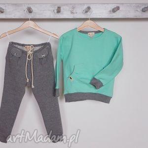 hand-made ubranka spodnie w stylu jogger szary melanż