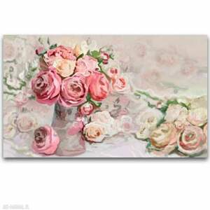 obraz na płótnie kompozycja róż i piwonii 100x60, pastelowe, kwiatowe