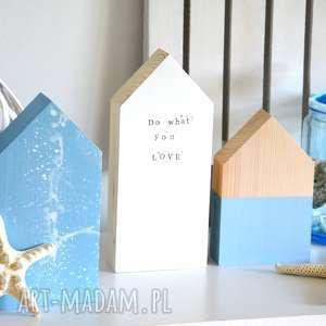wyjątkowy prezent, dekoracje 3 x domki drewniane, domki, domek, drewna