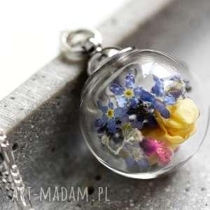 925 Srebrny łańcuszek -bukiet niezapominajek , kwiaty, niezapominajka, szkło, kula